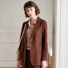 颜域简约西装外套女2020春装职业气质百搭时尚减龄宽松小西服 咖啡色 S/36