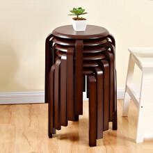 家逸 实木凳子 创意矮凳  换鞋凳 布艺沙发凳 浅灰色 胡桃色圆凳