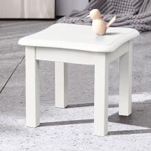 家逸实木小圆凳子家用可叠放茶几餐凳板凳时尚简约矮凳换鞋凳 蝴蝶凳白色