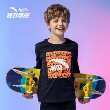 安踏(ANTA)儿童童装男中大童经典LOGO长袖T恤针织衫A35018111梦幻黑-7/140