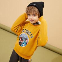 一贝皇城男童加绒卫衣假两件高领保暖儿童中大童上衣2020秋冬新品 杏黄色 110cm