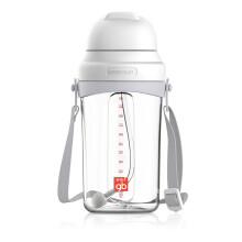 京东超市gb好孩子 儿童水杯 宝宝学饮杯 重力球吸管杯 拎带 350ml 9个月以上(淡灰)方圆系列(京东专供)