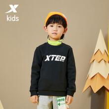 特步(XTEP)童装套头卫衣男女童简约休闲运动打底衫 680426209091_Ⅰ 黑 165cm