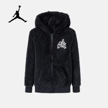 京东超市Nike Air Jordan 耐克男大童冬季羊羔绒外套儿童加绒保暖连帽卫衣正黑色/金色尺码140/S货号JD942036GS-001