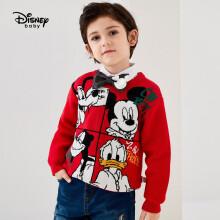 京东超市迪士尼 Disney 童装儿童男童针织加厚卡通圆领毛衫卡通打底套头衫毛衣2020冬 DB041HE08 大红 90cm