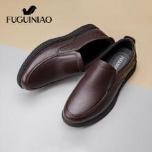 富贵鸟(FUGUINIAO)商务休闲男鞋软底皮鞋男一脚蹬懒人鞋 FG01040026 棕色 39