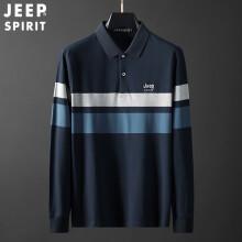吉普JEEP 长袖POLO衫T恤男士2021春季中青年休闲条纹翻领纯色棉质上衣打底衫男 RYL9007 蓝色 2XL
