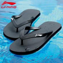 李宁 LI-NING 拖鞋男女式夏季人字拖新款室内家居防滑运动沙滩鞋LSXP800-1黑色42码