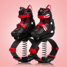 新品 捷豹弹跳轮滑两用鞋儿童溜冰鞋男女旱冰鞋中大童直排轮成人健身跳跳鞋 弹跳鞋炫酷红 大码L(鞋标39-42)推荐10岁以上