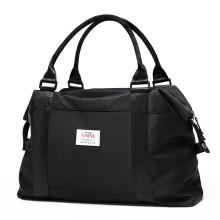第九城V.NINE 旅行包女士短途出游出差大容量行李袋运动健身包 VD9BV63837J 黑色