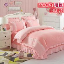 门扉 床上四件套 粉色公主风床裙床单被套1.8/2.0m床上用品套件韩版双层可爱纯色磨毛床裙四件套 恋羽 2.米床 床裙200*220cm