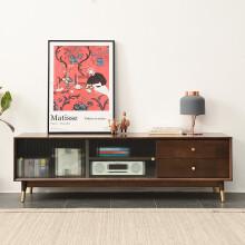 家逸北欧电视柜现代简约实木客厅小户型地柜轻奢风收纳柜储物柜1.5米 1.8米胡桃色