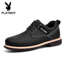 花花公子(PLAYBOY)英伦时尚商务休闲皮鞋男低帮防滑 DS85165 黑色 39