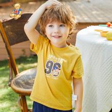 精典泰迪Classic Teddy男童T恤短袖女童宝宝半袖上衣童装2020夏款T恤D 96熊-姜黄 120