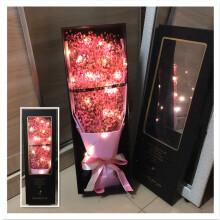 网红ins花束永生花满天星干花束天然女友生日礼物圣诞情人节毕业 串灯 大礼盒 粉色 纯满天星 干花包