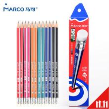 马可(MARCO)书写带橡皮头 不易断铅笔 易握三角杆 9001E 学生学习书写铅笔 9001-HB/12支装