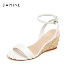 达芙妮/Daphne一字带编织坡跟凉鞋OL风纯色圆头通勤凉鞋