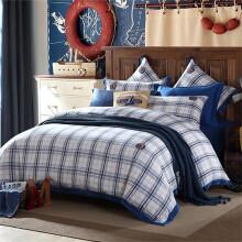 梦洁家纺 床上用品 60支纯棉格纹三件套 纯棉床单被套 1.2米床 150*215cm
