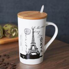 洁雅杰 大容量陶瓷杯子情侣水杯咖啡杯带盖带勺马克杯 铁塔