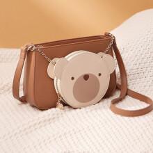 欧时纳(JUST STAR)女包可爱小熊组合麻将包包女士单肩斜挎包 573小熊棕配暖杏色