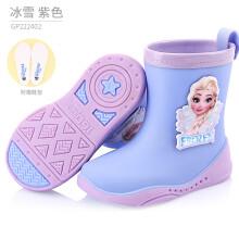 京东超市迪士尼儿童雨鞋女童冰雪小学生防滑胶鞋中筒小孩水鞋幼儿宝宝雨靴 GP222402紫色 190/内长190mm