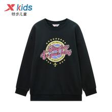 京东超市特步(XTEP)童装套头卫衣男童林书豪Q版人物印花中大童圆领卫衣 680125209404 黑 150cm
