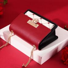 欧时纳(JUST STAR)包包女包时尚斜挎包单肩链条红色小包ck潮  977甜蜜红