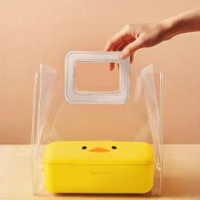 奥克斯电热饭盒午餐无水加热便当保温自热插电上班族热饭神器便携 小黄鸭+透明饭盒袋