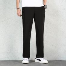 双星运动裤男士夏季透气针织训练卫裤舒适薄款休闲长裤 7Q18601M 黑色 2XL