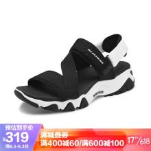 Skechers斯凯奇厚底熊猫鞋运动凉鞋时尚魔术贴沙滩鞋88888181 黑色/白色 36