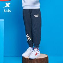 特步(XTEP)童装儿童针织长裤小童休闲宽松运动裤 680326633870 深花灰 130cm