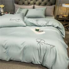 迷人居结婚床上用品四件套婚庆红色婚房喜被床单被套被单婚礼欧式大红色 梵星蓝 1.8m床 【床单款四件套】适合200x230cm