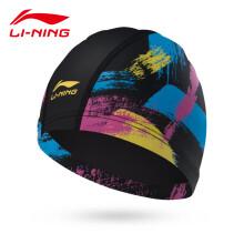 李宁 LI-NING泳帽 女 男士 PU涂层游泳帽 舒适花色游泳帽子LSJM870-1 黑色