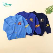京东超市 迪士尼(Disney)童装 男童毛衣长袖2020年秋装外套纯棉前开扣针织保暖v领宝宝毛线衫浅蓝5岁/身高120cm