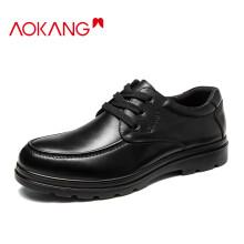 奥康(Aokang)男鞋男士商务休闲鞋英伦舒适低帮圆头系带皮鞋193212070/G93212070 黑色43码