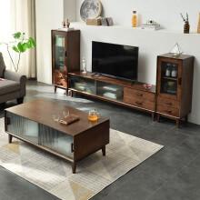 家逸北欧电视柜组合现代简约实木电视机柜家用地柜收纳柜客厅储物柜胡桃色1.5米电视柜+高低边柜茶几套装