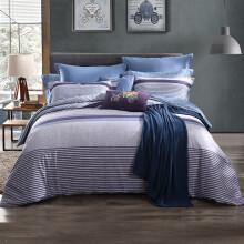 梦洁 MINE 床品套件 纯棉磨毛印花四件套 巴克斯顿 紫 1.5米床 200*230cm 双面磨毛加厚款-巴克斯顿 蓝