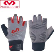 McDavid迈克达威健身手套掌垫护手轻薄训练半指单杠骑行运动护具 灰/烈焰红 L(掌围20-22CM)