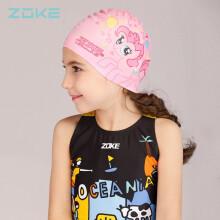 洲克 ZOKE 儿童泳帽可爱防水护耳硅胶游泳帽粉色卡通小马宝莉游泳帽子 617503220