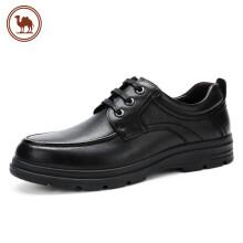 骆驼牌 男鞋商务休闲鞋圆头低帮系带百搭耐磨牛皮鞋 W032211350 黑色 42