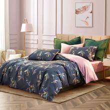 梦洁家纺 MAISON 床上用品 60支长绒棉磨毛印花抗菌四件套 纯棉全棉床单被套 紫嫣 1.5米床 200*230cm