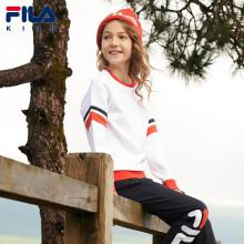 京东超市FILA斐乐儿童童装女童春装卫衣春装儿童卫衣运动舒适经典休闲套头上衣K62G031201FWT标准白140