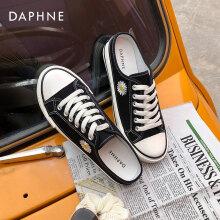 达芙妮(Daphne)网红小雏菊帆布鞋一脚蹬包头半拖鞋