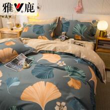 雅鹿纯棉四件套少女心公主风全棉床上用品床单被套网红款1.8m小香风1.5米套件ins 优雅生活灰 1.5米-1.8米床单款通用 被套200*230