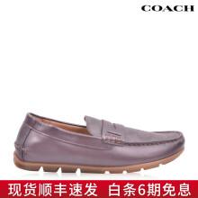 COACH/蔻驰 男鞋牛皮拼接PVClogo印花软底休闲乐福鞋 G2983 红棕色 欧码41
