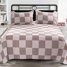 黄河口老粗布三件套新款提花纯棉全棉加厚格子单人床单1.8米双人床单全棉三件套 方格咖啡色 250X250cm三件套适合1.8/2.0米床