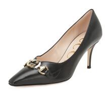 古驰 GUCCI 女士Gucci Zumi系列黑色羊皮双G马衔扣中跟尖头浅口鞋 596860 C9D00 1000 37