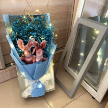 网红ins花束永生花满天星干花束天然女友生日礼物圣诞情人节毕业 串灯 中礼盒 蓝满天星 双兔 干花包