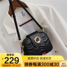 金狐狸(FOXER)包包女包韩版单肩包女奢侈品牛皮斜挎包女时尚小香风菱格链条包女士包包黑色小圆包