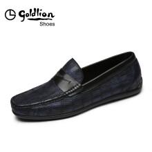 金利来(goldlion)男鞋商务休闲鞋时尚舒适透气套脚皮鞋50292008460A-蓝色-44码